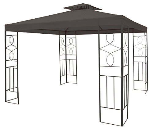 habeig WASSERDICHTER Pavillon Romantika 3x3m Metall inkl. Dach Festzelt wasserfest Partyzelt (Anthrazit)