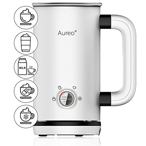 Aureo Elektrischer Milchaufschäumer in Weiß - Milchschäumer mit 5 Funktionen für warmen und kalten Milchschaum I Milchschaummaschine Milchheizer