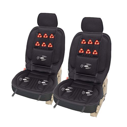 WOLTU 2er Set Sitzheizung Auto Heizkissen Heizauflagen Massageauflage, Massagesitzauflage mit 3 Massagezonen Heizung für den Rücken Überhitzungsschutz 12V 97 cm x 48 cm Schwarz