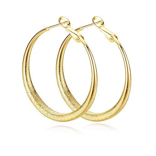 Pendientes de aro amarillo,Señoras chapadas en oro grandes joyas criollas para mujeres niñas regalos de nacimiento