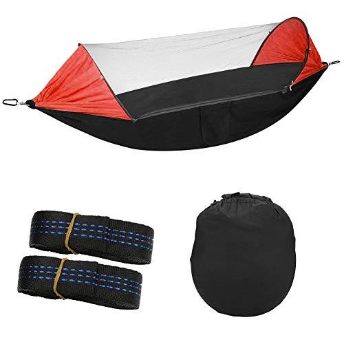 BYARSS Multifunktions-Multifunktions-Sonnenschutz-Anti-Moskito-Hängematte Quick-Eröffnung Hängendes Zelt for Gartenstrand (schwarz + orange)