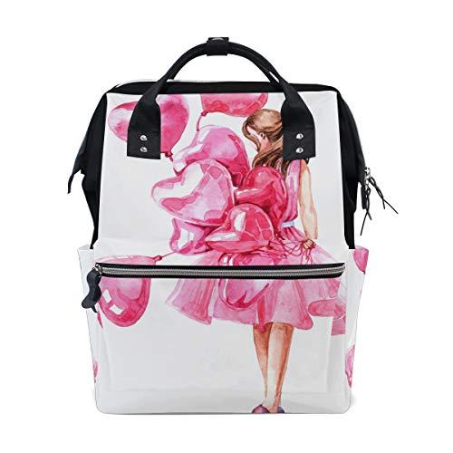 Bardic Pink Mädchen mit Herz Ballon Valentinstag Baby Wickeltasche wasserdichte Windeltasche große Kapazität Reisetasche wasserdichte Windeltasche für Damen Herren