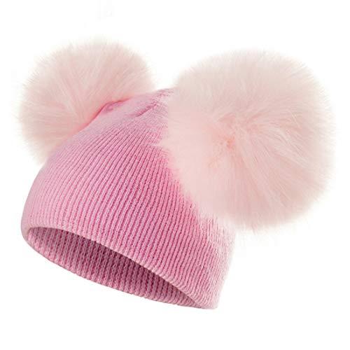 Yixda Baby Mütze Jungen Mädchen Fellbommel Pom Pom Winter Strickmütze Beanie (Rosa)