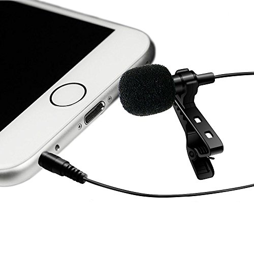 Grip Professional Grade Lavalier Lapel Microphone Omnidirectional Mic with Easy Clip On System Perfect for Recording Youtube Interview Video Conference Podcast Voice Dictation iPhone (Black)