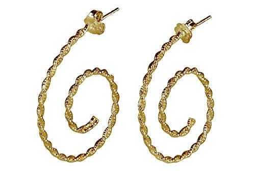 SILBERMOOS Damen Creolen vergoldet Spirale glänzend diamantiert 925 Sterling Silber Ohrringe