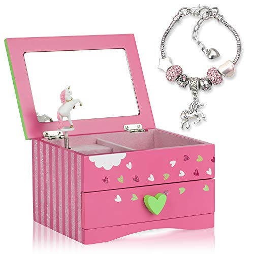 Amitié Lane Unicorn Jewellery Box For Girls - Two Unicorn Gifts for Girls including Pink Unicorn Music Box and Unicorn Charm Bracelet