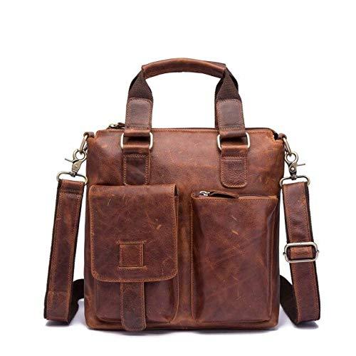 RSZHHL B259-db - Maletín de piel para hombre, estilo antiguo, retro, 12 pulgadas, funda portátil, cierre de cartera, bolso de mano, bolso de mano, bandolera, marrón (Marrón) - 6927851880213