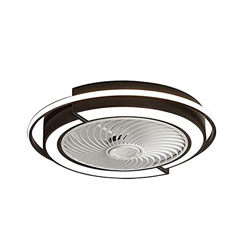Ventilador de techo con luz, ventilador de techo cerrado de montaje semi empotrado con aspas enjauladas y luces LED de 3 tonos de color, soporte de montaje para caja de ventilador de techo estándar