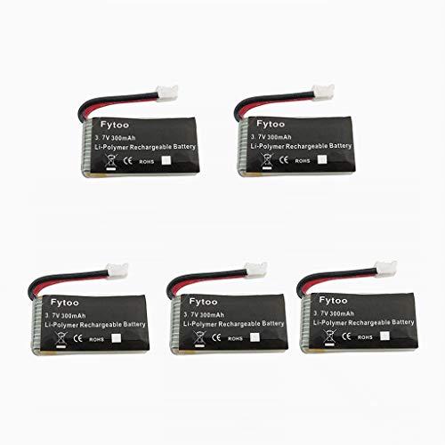 Fytoo Accessori 5PCS 3.7V 300mAh Lipo Batteria per JJRC H36 E010 GoolRC T36 NIHUI NH010 F36 Quadcopter Drone Batteria