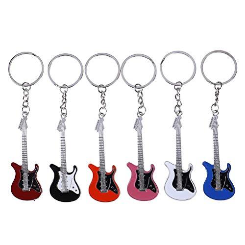 7thLake 6 Stücke Mini Metall E-Gitarre Keychain Schlüssel Auto Kette Musik Bass Gitarre Schlüsselanhänger Handtasche Schlüsselanhänger Geschenke