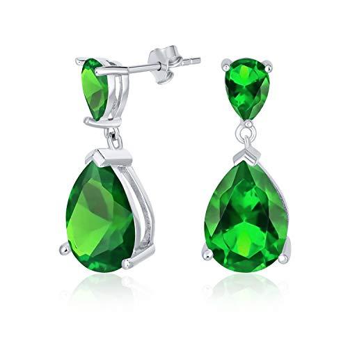 Bridal simple 5CT AAA cúbico Zirconia simulado esmeralda verde lágrima pera en forma de solitario CZ colgante pendientes para el baile de plata de ley .925