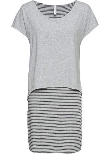 bonprix Stylishes Shirtkleid mit Streifenrock in Cooler Lagen-Optik hellgrau meliert/schwarz gestreift 40/42 für Damen