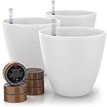 GARDENIX DECOR 7'' Self Watering Planters for Indoor Plants - Flower Pot with Water Level Indicator for Plants, Grow Tracking Tool - Self Watering Planter Plant Pot - Coco Coir - White Round 3 Pack
