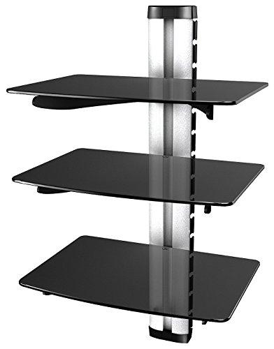 RICOO HiFi Rack DVD-S3 Multimedia Regal aus Glas - Silber Schwarz mit Kabelkanal & Höhenverstellbar   3 Ablagen Wandboard für TV Zubehör Lautsprecher Boxen Receiver Beamer