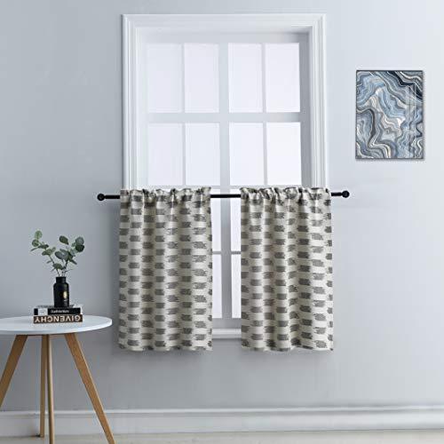 "Coffee Farmhouse Kitchen Window Curtains Set ,Rustic Kitchen Curtains ,Country Kitchen Door Curtains ,Kitchen Waterproof Jacquard Set of 2 Curtains ( W 27"" x L 36"",Coffee)"