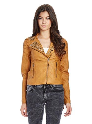 Redbridge Damen Jacke Übergangsjacke Kunst Lederjacke Rivets mit Nieten RBW7003 (Braun, Größe: XL)