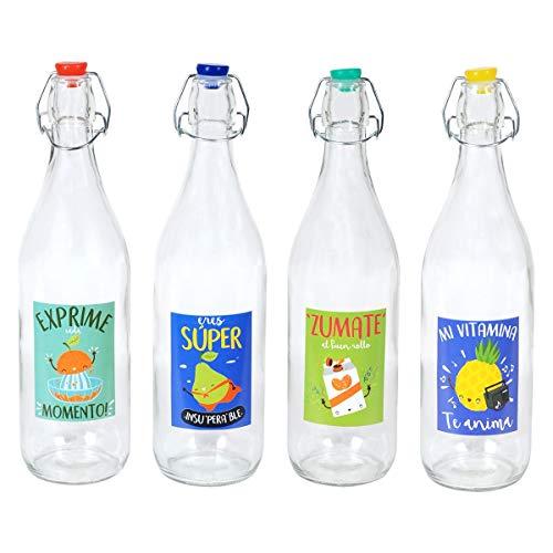 Decor And Go Botellas Agua Incluye 4 Unidades Cocina Mugs Y Vasos Colección Tropical