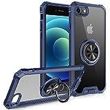 FayTun Funda Compatible con iPhone SE 2020,Anillo Giratorio de 360 Grados Funda para iPhone 8/7,Iman Soporte Bumper Carcasa,TPU Protectora Cover Compatible con iPhone SE 2020 (Azul)