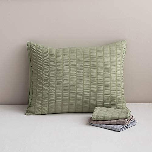 ETDWA Fundas de Almohada extragrandes Seersucker Comfort Allergy Pillow Protector, Luxury Fundas de Almohada 2 Unidades (Verde) 50 x 90 cm
