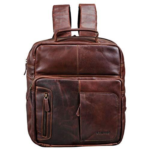 STILORD 'Toni' Vintage Leder Rucksack groß für Frauen Männer moderner Daypack für DIN A4 Ordner 13.3 Zoll Laptop Rucksackhandtasche für Schule Uni Arbeit, Farbe:Cognac - Dunkelbraun