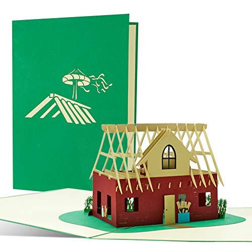 Glückwunschkarte zum Hausbau, Richtfest | Karte, Geschenkidee oder Geschenk zum Einzug oder Umzug | Einladung, Gutschein zu Richtfest, Einweihungsfeier, T22