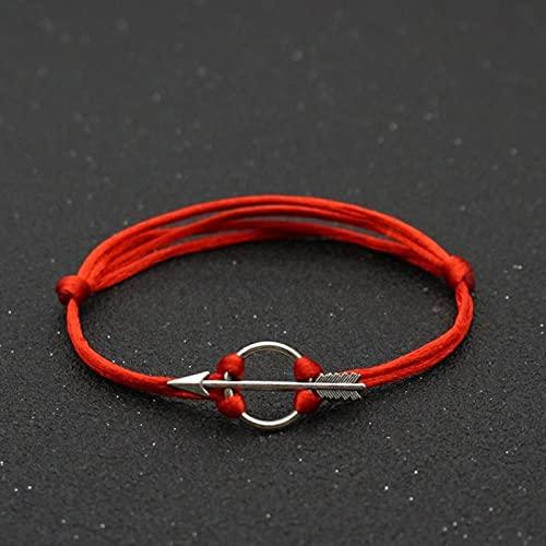 CXWK Pulsera con Dije de Flecha a la Moda, Pareja Infinita, Cuerda roja de la Suerte, Hilo de Hilo, Pulseras de Amistad para Mujeres y Hombres, joyería