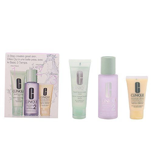 Clinique 3 Step Einführungsset für trockene Haut (Liquid Facial Soap 50ml, Clarifying Lotion 100ml, Dramatically Different Moisturizing Lotion plus 30ml)