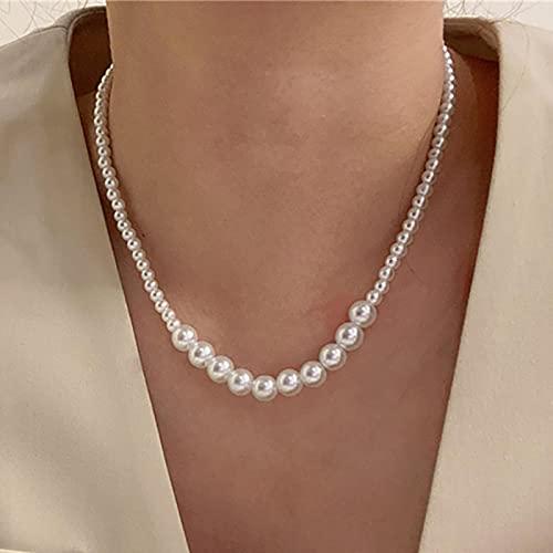 SONGK Collar de Gargantilla de Perlas Blancas Lindo Colgante de Cadena de Doble Capa para Mujer joyería Regalo de niña