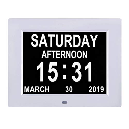 [Newest Version] Large Display Digital Calendar Day Clock � 12 Alarm Options, Level 5 Auto Dimmable Display, Extra Large Non-Abbreviated Day and Month Perfect for Seniors(8 Inch)
