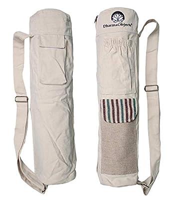 DharmaObjects Fair Trade Yoga Mat Bag 100% Organic Cotton Hemp/Eco Friendly Yoga Mat Carrier Tote/Multi-Functional Storage Pockets (Natural)