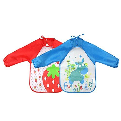 Isuper Malschürze Kinder 2 Stück Kücheschürzen langärmelige wasserdichten beschichtung der Kinder für Malen Kinderschürze Malerei Schürzen rot und blau
