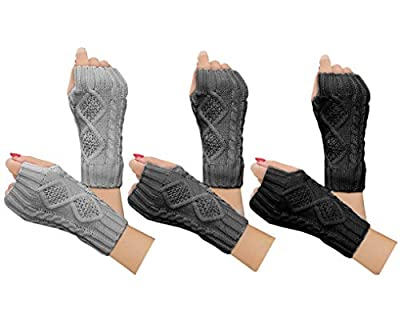 2-4 Pairs Women Winter Warm Knit Fingerless Gloves Hand Crochet Thumbhole Arm Warmers Mittens(A-3 Pair(black+dark gray+light gray), One Size)