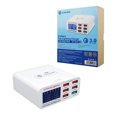 seeyouagan Voltage Current Display Repair Tool for Mobile Phone, 6 Port USB Quick Charger, Charging Power Supply Station