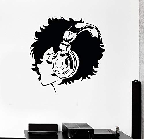 mlpnko Kopfhörer Mädchen Mode nach Hause Wohnzimmer Wandaufkleber abnehmbare Wandtattoo Dekoration45X63cm