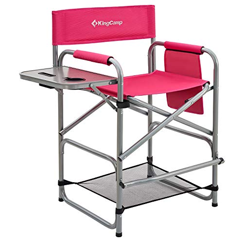 KingCamp Heavy Duty Camping Folding Director Chair Oversize Padded Seat with Side Table and Side Pockets, Supports to 396 lbs (Darkrose)