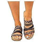 Chanclas Mujer Flip flop Nuevo 2021 Sandalias Verano linaza planas casual Sandalias de Vestir Playa Chanclas Zapatos Sandalias de Punta Abierta Bohemia Sandalias Fiesta Cómodo Vacaciones
