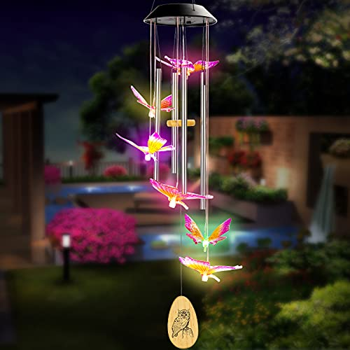 Udreem Solar Butterfly Wind Chimes, Solar Wind Chimes for Outside, Color Changing Butterfly Aluminum Handmade Tubes Memorial Wind Bell or Garden Patio Decor Thanksgiving Gifts (25 Inch Deep Tone)