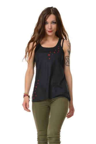 Sommershirt Racerback Mädchen Damen Top locker und luftig Elfe, schwarz rot M Tanktop