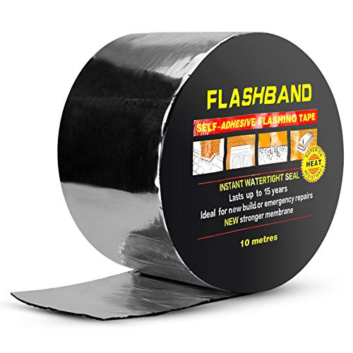 BXI Flashing Roll Tape Membrane - 4 inches X 32 Feet Waterproof Patch & Seal Tape - SBS Modified Bitumen Rubberized Asphalt - Self-Adhesive - Windows Roof Repair - Multiple Sizes
