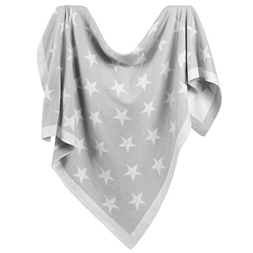 TILLYOU Premium Cotton Knit Baby Blanket for Infant Newborn, Breathable Small Receiving Blanket for Toddler Bed, Crib, Stroller or Bassinet, Nursery Bedding Essentials, Gray Stars, 30x40