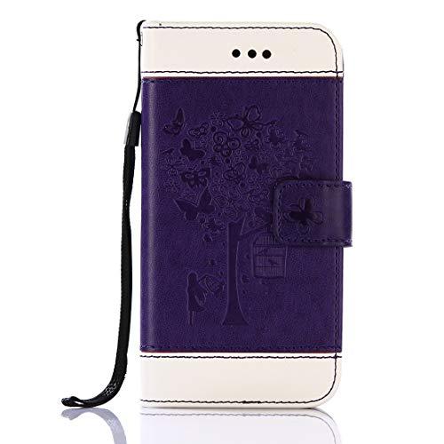 GUOQING Funda de piel sintética tipo cartera con clip para cinturón para teléfono Galaxy S7, con estampado en relieve y ranuras para tarjetas y soporte para Samsung Galaxy S7 (color: morado)