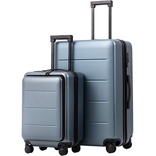 COOLIFE Luggage Suitcase Piece Set Carry On ABS+PC Spinner Trolley with pocket Compartmnet Weekend Bag(Night navy, 2-piece Set)