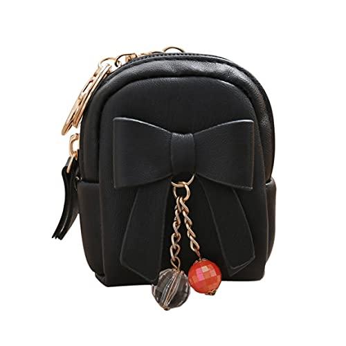 abbybubble Lady Key Bag Versión coreana del pequeño bolso Bow Colgante Zip Monedero Mini billetera
