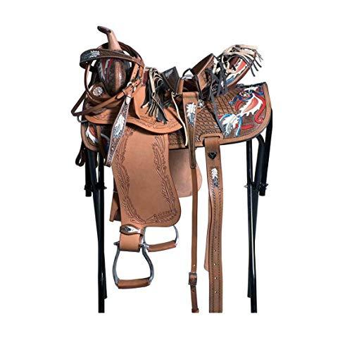 GCSEY Moda Silla De Montar Occidental Premium Barril De Cuero Racing Trail Caballo De Silla Tack Talla 14 A 18 Pulgadas