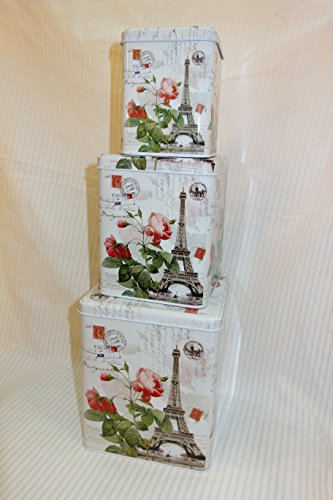 Vintage Eiffel Tower Partten Storage Tins, Shabby Chic, Floral Roses Design Set of 3