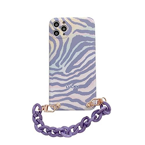 DEIOKL Estuche para teléfono con Pulsera con patrón de Cebra Degradado púrpura para iPhone 12 Mini 11 Pro MAX X XS XR 7 8 Plus Funda Suave con Cadena, 1, para Huawei Nova 6