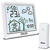 Wetterstation Funk mit Außensensor, Groß Digital Funkwetterstation Thermometer Hygrometer Innen Außen, Raumthermometer Feuchtigkeit mit Wettervorhersage, Uhrzeit, Temperatur, Wecker Funktion (Weiß)
