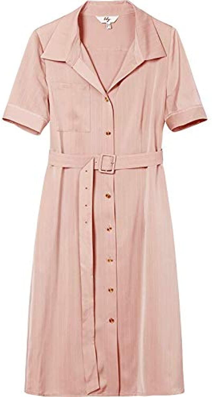 UOYJN Woman Dress Summer Women'S Striped Slim Pink Short Sleeve Shirt Dress