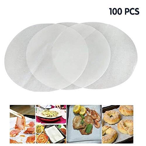 100 unidades de círculos de papel antiadherente para hornear, GFEU 7,87 pulgadas, no tóxico, dispensador de grasa, papel de pergamino para cocinar tartas o cocinas 25 cm blanco
