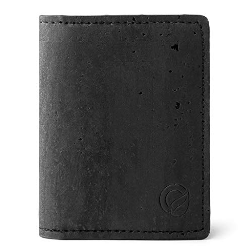 Corkor Slim Wallet for Men, RFID Safe, Vegan Non Leather, Bi-fold Cards Cash, Black